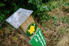 Detalles de una muestra de madera del sendero y de una advertencia para los dueños del perro Foto de archivo libre de regalías