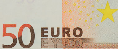 Una mirada cercana del billete de banco del euro 50 Fotos de archivo