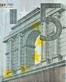 Una mirada cercana del billete de banco del euro 50 Imágenes de archivo libres de regalías