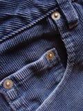 Detalles del bolsillo en las cuerdas azules Foto de archivo