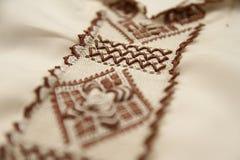 Detalles del bordado de Djellaba del marroquí Foto de archivo libre de regalías