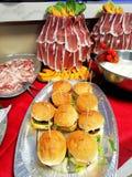 Detalles del buffet foto de archivo