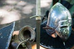 Detalles del equipo medieval del caballero Foto de archivo libre de regalías