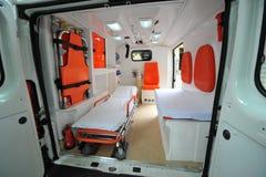 Detalles del interior de la ambulancia Foto de archivo libre de regalías