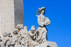 Detalles del monumento a los descubrimientos en el banco septentrional del estuario del río Tagus en Lisboa Fotos de archivo libres de regalías