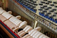 Detalles del piano, dentro de la visión, martillos de madera imagen de archivo libre de regalías