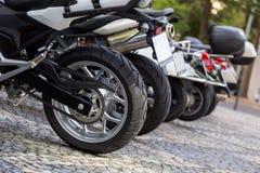 Detalles del primer del motobike Foto de archivo