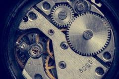 Detalles del reloj del vintage Engranaje de la hora Macro, primer Fotos de archivo libres de regalías