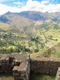 Detalles del sitio arqueológico de Pisaq, en el valle sagrado de los incas Foto de archivo