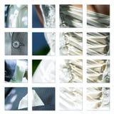 Detalles del vestido y de los accesorios de boda de la novia Imagenes de archivo