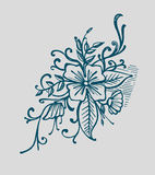 Detalles florales. Hand drawn vector illustration or drawing of some flowers and plants Royalty Free Stock Image