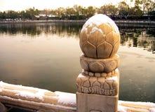Detalles tallados en el puente Fotos de archivo