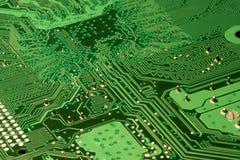 Detalles verdes del circuito de ordenador Imagen de archivo