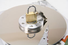 Detalles y bloqueo de los discos duros Imagen de archivo