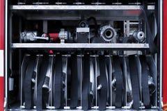 Detalles y estructura del coche de bomberos imágenes de archivo libres de regalías