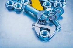 Detalles y tornillo roscados llave ajustable del perno Imágenes de archivo libres de regalías