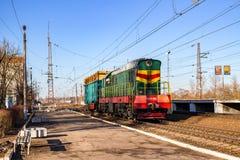 Detchino, Rusland - Maart 2016: Railcar bij Sukhodrev-post stock afbeelding