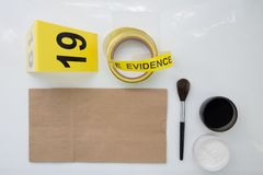 Detection of latent fingerprint tool in crime scene. On white background royalty free stock photos