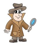 Detective 1. Color illustration of detective in brown coat Stock Photos