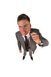 Detective. With magnifying glass in a hand isolated on a white background royalty free stock photo