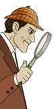 Detective. Cartoon illustration of a detective looking through his magnifying glass Royalty Free Stock Photos