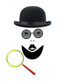 Detective. Beard with a mustache wearing a black hat with glasses with a magnifying glass on white background Royalty Free Stock Photo