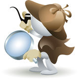 The detective. Illustration with simplified man in detective retro clothes who holds a magnifying glass in his hand as allegory of computer file finders vector illustration