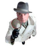 Detective 4. Man with magnifying glass Royalty Free Stock Images