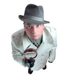 Detective 5. Man with magnifying glass Stock Photo
