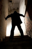 Detective in action. Investigation process by a detective in a spooky location Stock Photography