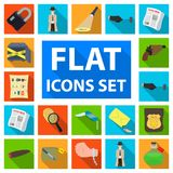Detective agency flat icons in set collection for design. Crime and investigation vector symbol stock web illustration. Detective agency flat icons in set Royalty Free Stock Photos