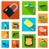 Detective agency flat icons in set collection for design. Crime and investigation vector symbol stock web illustration. Detective agency flat icons in set Stock Image