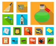 Detective agency flat icons in set collection for design. Crime and investigation vector symbol stock web illustration. vector illustration