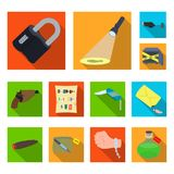 Detective agency flat icons in set collection for design. Crime and investigation vector symbol stock web illustration. Detective agency flat icons in set Stock Photo