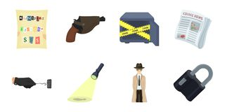 Detective agency icons in set collection for design. Crime and investigation vector symbol stock web illustration. Royalty Free Stock Photography
