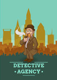 Detective Agency Poster. With private eye in overcoat and hat on city scenery background vector illustration Stock Photography