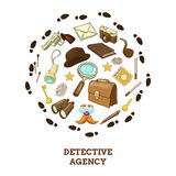Detective Agency Round Composition. With objects for activity hat and smoking pipe of private eye vector illustration Royalty Free Stock Images