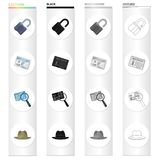 Detective and Attributes cartoon black monochrome outline icons in set collection for design.Detective Agency vector. Symbol stock illustration Royalty Free Stock Image