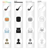 Detective and Attributes cartoon black monochrome outline icons in set collection for design.Detective Agency vector. Symbol stock illustration Royalty Free Stock Images