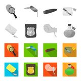 The detective badge, the handcuff on the criminal hand, the stump of the finger in the bag, the flask with the poison. Crime and detective set collection icons Stock Images