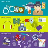 Detective banner set. Police detective banner set with people and law collecting clues observation isolated vector illustration Stock Photo