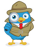 Detective Blue Bird. Clipart Picture of a Detective Blue Bird Cartoon Character Stock Photo