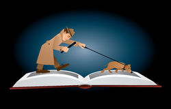 Detective book. Vector illustration. A male detective in a beige hat and coat walking on the pages of an open book with magnifying glass and his search dog Royalty Free Stock Image