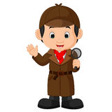Detective boy Cartoon Royalty Free Stock Images