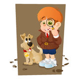 Detective boy and his dog Royalty Free Stock Image