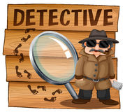 Detective in brown overcoat. Illustration Stock Photography
