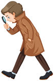 Detective in brown overcoat. Illustration Royalty Free Stock Photography