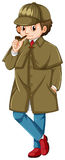 Detective in brown overcoat smoking pipe. Illustration Stock Photo
