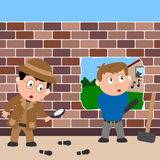 Detective and Burglar. A funny scene showing a detective following a track and a burglar keeping a lookout. Eps file available Stock Image