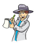 Detective cartoon illustration. Cartoon illustration of a detective (or news reporter) with a notepad and pen wearing a grey hat and coat Royalty Free Stock Images